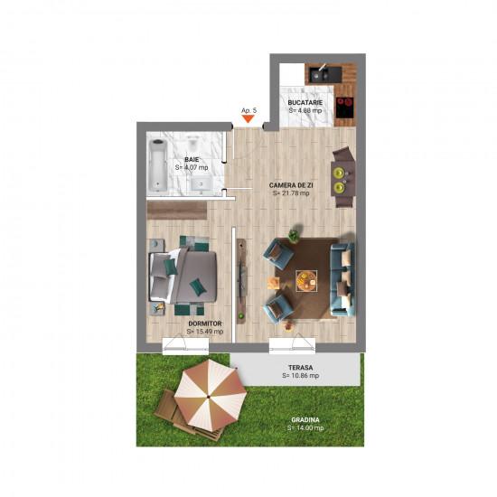 Studio 63 mp cu Grădină Tip 2