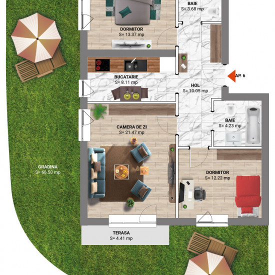 3 Camere 99 mp cu Gradina - Tip 11