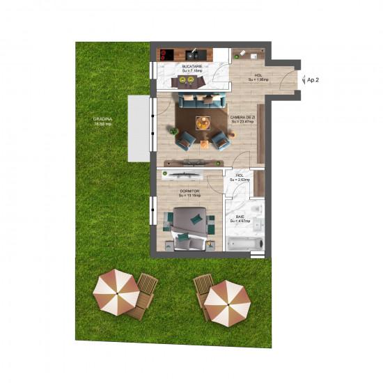2 Camere, 72mp cu Grădină