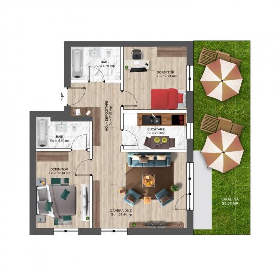 3 Camere, 93mp cu Grădină