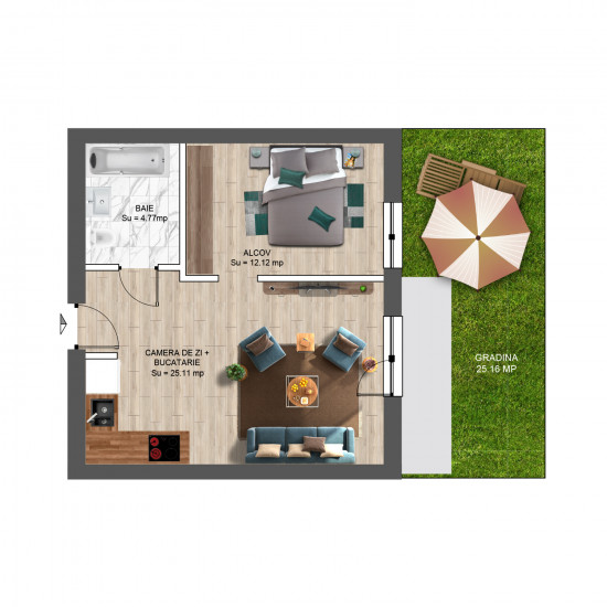 Studio, 57mp cu Grădină