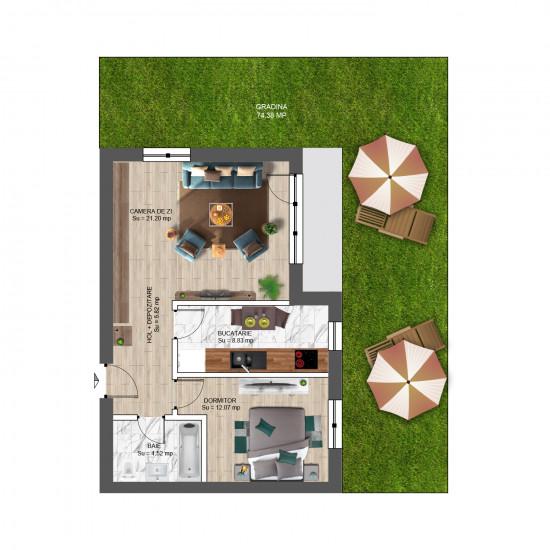2 Camere, 73mp cu Grădină