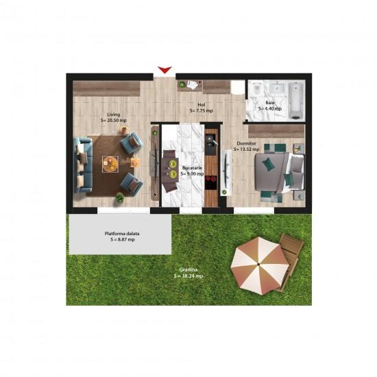 2 Camere 71mp cu Grădină
